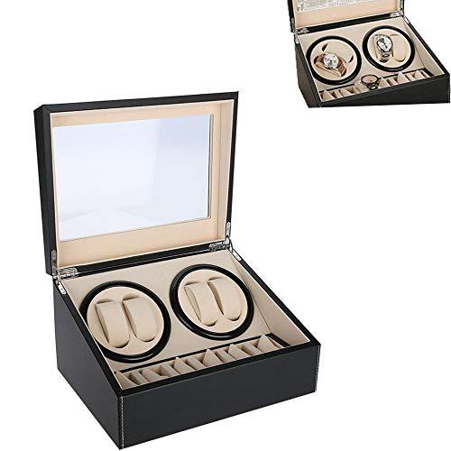 Watch Winder, Watch box, Watch winder box, 4 orologi automatici + 6 griglie Watch box Quiet Multi Rotation Motor(EU Black)