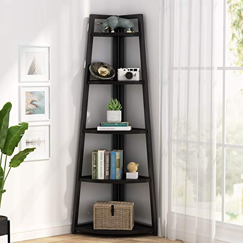 Tribesigns 5 Tier Corner Bookshelf and Bookcase, 70 inch Tall Corner Shelves Rustic Corner Ladder Shelf Indoor Plant Stand for Living Room, Kitchen, Home Office (Brown)