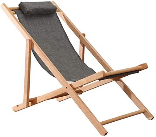 Lanxing Tumbona Silla Plegable portátil Ajustable reclinable Marco de Madera for la Playa al Aire Libre del jardín de Ministerio del Interior la Almuerzo Ocio