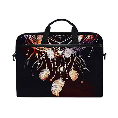 HaJie Laptop Bag Boho Ethnic Dreamcatcher Feather Computer Case 14-14.5 in Protective Bag Travel Briefcase with Shoulder Strap for Men Women Boy Girls