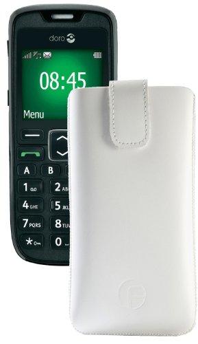 Original Favory Etui Tasche für / Doro PhoneEasy 508 / Leder Etui Handytasche Ledertasche Schutzhülle Hülle Hülle Lasche mit Rückzugfunktion* in Weiss