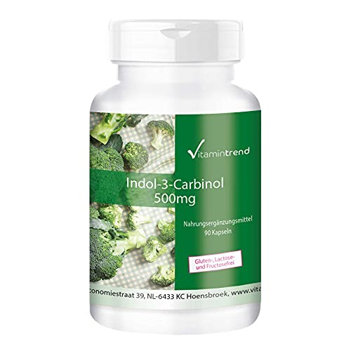 Indol–3–Carbinol 500mg  90 Cápsulas  Extracto de brócoli en polvo– Antioxidante natural para el sistema inmune – Protege las células