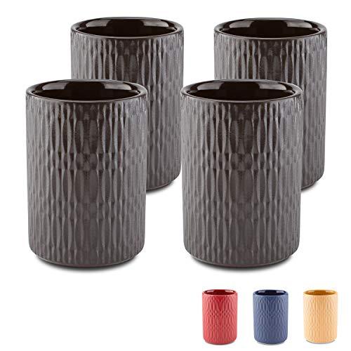 MELOX 4er Set Espressotassen 4X 90ml in den Farben schwarz, blau, rot, gelb   4er Tassen-Set für Espresso und Macchiato   hochwertiges, dickwandiges Porzellan
