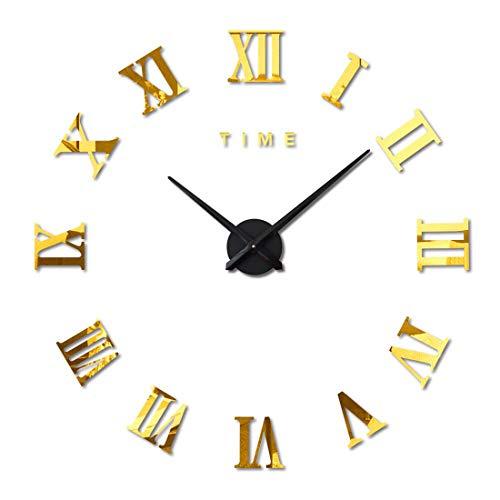 FAS1 Moderno DIY Reloj De Pared Grande Big Reloj Adhesivo 3D Pegatinas Números Romanos Reloj De Pared Home Office Decoración Extraíble (Batería No Incluida) Dorado