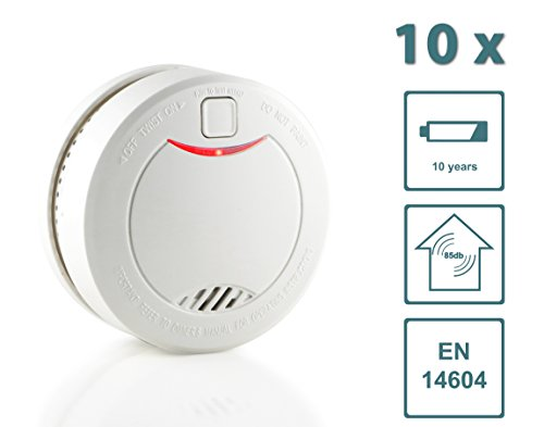 Slabo Detector de Humo/Detector de Incendios/Detector de Incendios con batería de 10 años y Sensor fotoeléctrico - Blanco - 10 Unidad