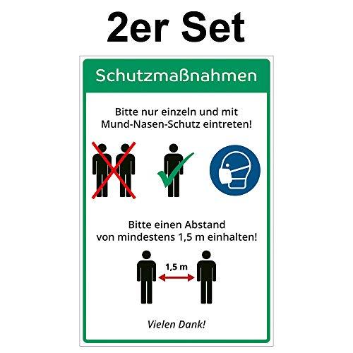 2 Stück Hinweis-Aufkleber 20 x 30 cm - allgemeine Schutzmaßnahmen - Vorsichtsmaßnahmen - 200x300 mm - selbstklebend