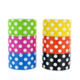 GIFTEXPRESS 6pk Assorted Colored Duct Tapes, Polka Dot Duct Tapes - Multi Purposes Bright Colors Tapes Great for DIY Decorative Art and Craft Home School Office 2' Roll