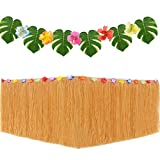 Gold Hawaiian Tropical Party Decorations with 9ft Hawaiian Luau Grass Table Skirt Palm Leaves and Hibiscus Flowers