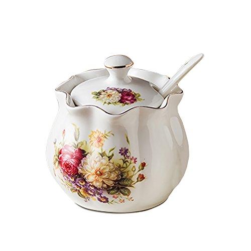 Ceramics Vintage Red Floral Sugar Bowl Spice Jar Seasoning Box with Lid and Spoon 8oz