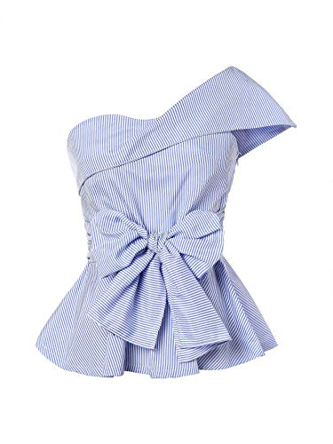 Romwe Women's Summer Slim Fit Striped Foldover One Shoulder Bow Tie Front Cap Sleeve Peplum Ruffle Tops Shirt Blouse Petite Blue S=US 0