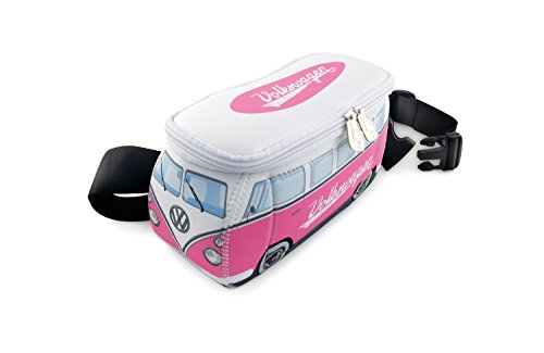 BRISA VW Collection - Volkswagen T1 Bulli Bus Hüft-Tasche, Gürtel-Tasche, Bauch-Tasche, VW-Fan-Geschenk, Schnittfest, Diebstahlsicher (Neopren/Pink-Weiß)