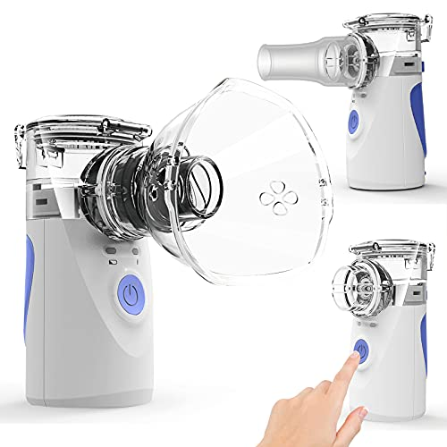 Ultrasonic Portable Nebulizer, Handheld Nebulizer of Cool Mist, Small Nebulizer with Two Modes for Breathing Problems, Used at Home, Office, Outdoor(Blue)