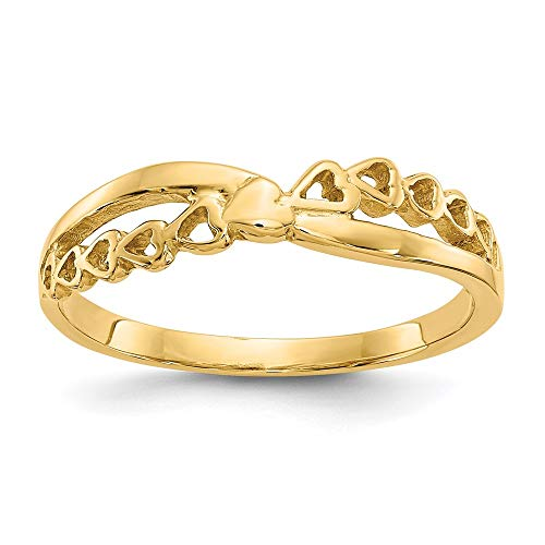 14k Yellow Gold Criss Cross Religious Pattern Hearts Band Ring Size 7.00 Love Fine Jewelry For Women...