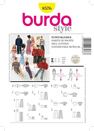 Burda B8576 - Cartamodelli per Vestitini da Bambola, Modelli Assortiti, 19 x 13 cm
