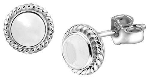 Nenalina Silber Damen-Ohrringe Ohrstecker rund mit Geburtsstein Bergkristall weiß für Frauen und Mädchen, 925 Sterling Silber, Ohrstecker für Damen, Geburtsstein Ohrringe, 222999-099