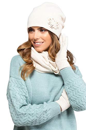 Kamea - Winterset Kansas - Mütze/Beanie mit passendem Loop-Schal - verschiedene Farbauswahl, Winter Set:Creme