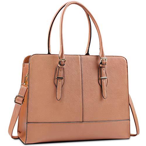 Lubardy Laptopväskor för kvinnor 15,6 tum damer läder laptop handväska arbetshandväskor dam tygväska kontor brun