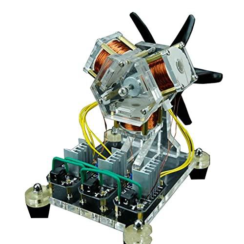 Motor Hall sin escobillas, Modelo de Motor Hall de Alta Velocidad con 3 aspas de Ventilador de Bobina, Potente imán de 12 V 2000-3000 R/min, para circuitos, experimentos, Ciencia educativa