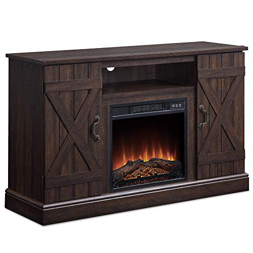 47 Inch Wooden Infrared Electric Fireplace, TV Stand Up to 50' with Heater Fireplace, Realistic Glowing Log Burn Flame Heater Storage Entertainment Room Organizer TV Shelf Door Cabinet, Espresso