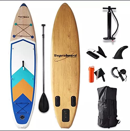 Tabla de Paddle Surf Hinchable Personalizable - Sup Paddle Hinchable Adulto - Remo Desmontable Aleta Extraíble Leash Bomba para Hinchar Kit de Reparación Bolsa de Transporte - 335x85x15 (Brown Black)
