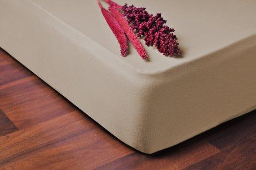 DecoKing Spannbettlaken Lenzuolo con Angoli, Cotone, Beige, 90 x 200-100 x 200 cm