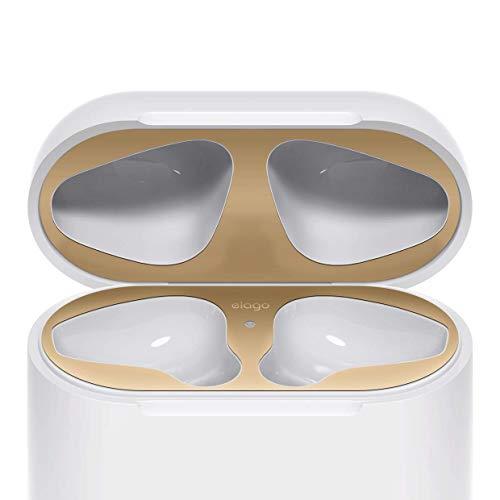 elago Dust Guard Staubschutz Kompatibel mit Apple AirPods 1 und 2 Nur Non-Wireless - [18K Vergoldung] [Vor Eisen & Metallspänen schützen] [Einfache Installation] - Matt Gold (1 Set)