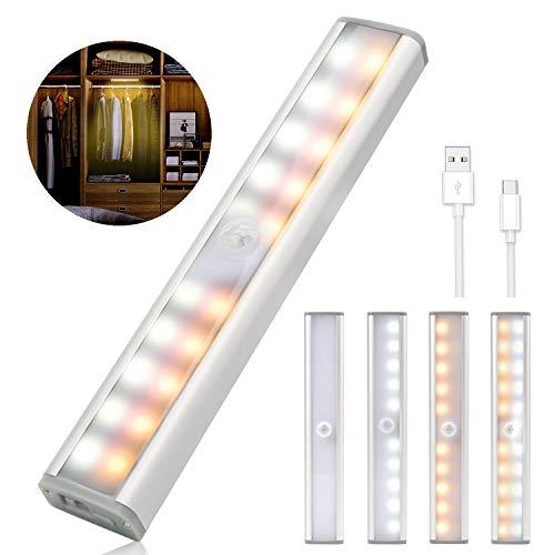 2PCS Luces Armario con Sensor Movimiento, 20 LED USB Recargable Luz Sensor Lamparas Luz Nocturna con 3 Niveles de Brillo, Lámpara Nocturna para Habitacion, Pasillo, Escalera, Cocina, Garaje, Gabinete