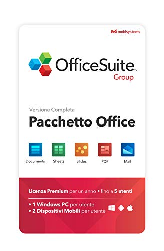 OfficeSuite Group -Compatibile con Microsoft® Office Word® Excel® , PowerPoint® e Adobe® PDF - 1 anno di licenza per 1 PC Windows & 2 Dispositivi Mobili/ 5 Utenti
