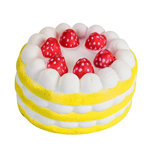 Sonnena Juguetes compresivos, Squishies Kawaii Juguetes Mini Tarta de Fresas Squishy Squeeze Toy Slow Rising Decompression Toys Stress Relief Juguete Suave Squeeze Toys (6cm*3.5cm, A)