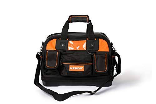 KENDO Werkzeugtasche leer & Werkzeugbeutel - Volumen: 25 Liter - Grösse: L42 - B22 x H28 cm - Universaltasche aus robustem 600D Oxford-Nylon - Schultergurt verstellbar - Tasche ohne Werkzeug