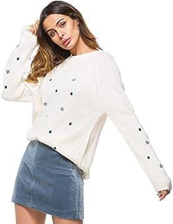 SDJYHSuéter de Mujer con CuelloRedondoPullover Suéteres de Punto Suave Tops para Mujer 04