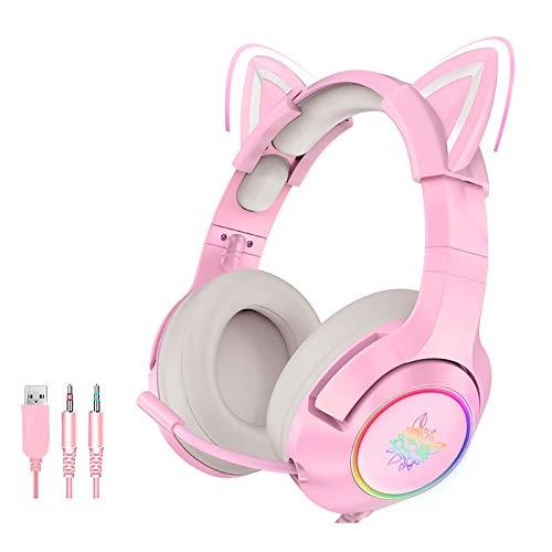 XFTOPSE Fones de ouvido de Gato com Microfone, Fone de Ouvido para Jogos com Fio LED, Auscultadores Girls, Hifi 7.1 Fone de Ouvido de Estéreo, Fones de Ouvido Rosa Bonitos para Crianças Adultas
