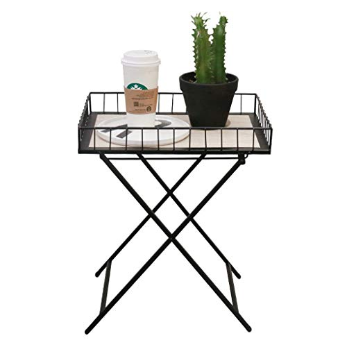 HSJ WYQ- Elegante Mesa de Centro pequeña y Moderna, Mini Plegable, Sala de Estar, balcón, Mesa de café portátil de Hierro Forjado