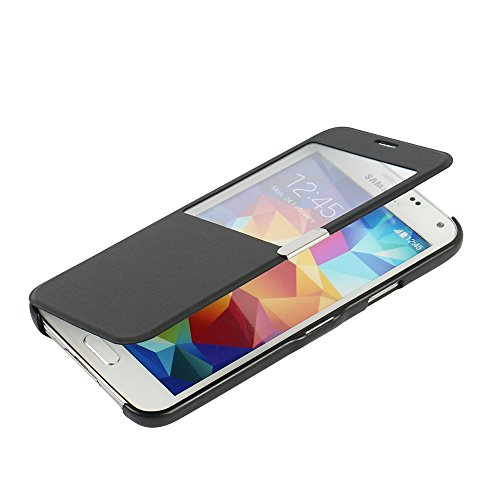 MTRONX para Funda Samsung Galaxy S5 Mini, Cover Case Carcasa Caso Ventana Vista Ultra Folio Flip Delgado PU Cuero con Cierre Magnetico para Samsung Galaxy S5 Mini - Negro(MW-BK)