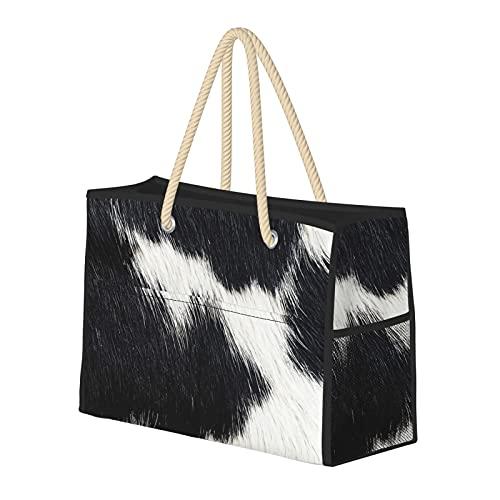 Bolsas de playa para mujer con detalles decorativos de piel de vaca, bolsa de viaje, bolsa de almacenamiento, bolsa de semana, bolsa de hombro, para playa, viajes, gimnasio