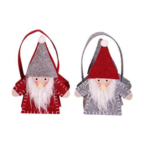Amosfun 2 Stück Weihnachtssüten Süßigkeitentüten Weihnachten Geschenktüten mit Handgriffen Filz Zwerg Weihnachtsmann Tote Beutel Weihnachten Handtaschen für Süßigkeiten Kuchen Kekse Grau & Rot
