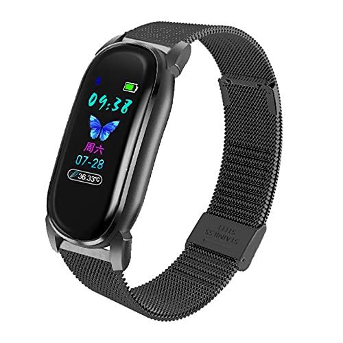 QFSLR Reloj inteligente para mujeres y hombres, reloj de fitness con medición de temperatura corporal, monitor de ritmo cardíaco, presión arterial Spo2, rastreadores de actividad, Android Ios, negro