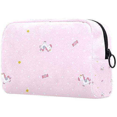 Trousse de toilette portable pour femme, trousse de maquillage, trousse de toilette pour femme, sac à main, organiseur de voyage, rose bonbons poulain