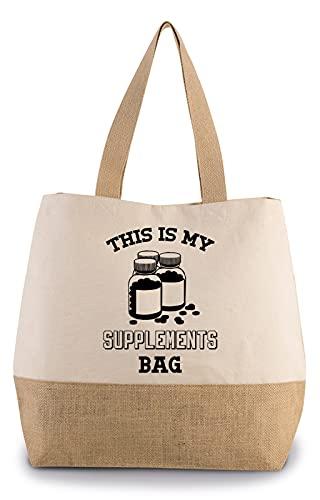 Hippowarehouse This is my supplements bag Premium reusable eco friendly 100% cotton tote shopper bag for life 43cm x 33cm x 17cm