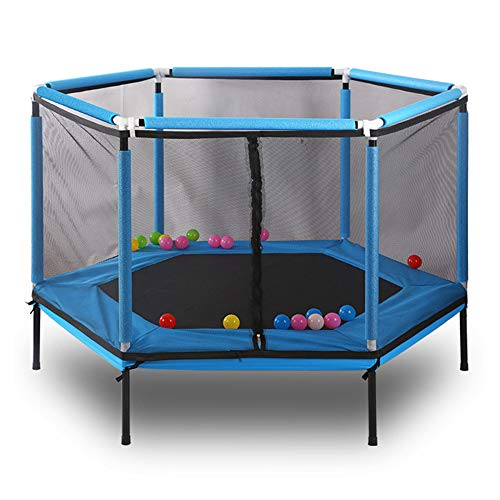 WQUI Children Trampoline,with Safety Net Jump Pad,Easy To Assemble Indoor Or Outdoor Garden Trampoline,Suitable For Home And School Entertainment,Blue