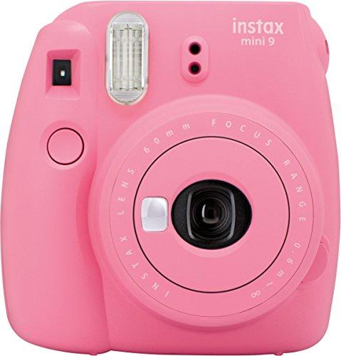 Fujifilm instax Mini 9 Kamera, flamingo rosa + Mini Instant Film, 1x 10 Blatt (10 Blatt), Weiß