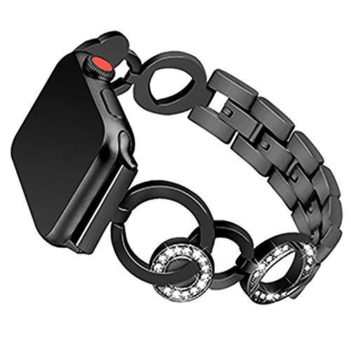 CHENPENG Bandas de Reloj de Acero Inoxidable, Compatible con Apple Watch 38mm 42mm, Correa de reemplazo de Acero Inoxidable de Metal de Diamantes de imitación,Negro,38mm