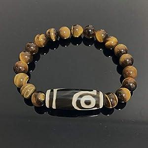 Natürliche Tibetische Dzi Agate Armbänder Schmuck Buddha Gebet Neunäugiger Charme Gelb Tiger Eye Edelsteine ??Stein Armbänder Männlich-Zwei Augen