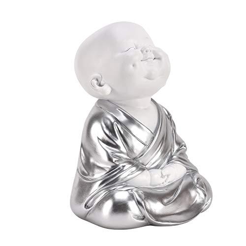 Widdop HESTIA HE1677 Baby-Buddha, Silber, Weiß, Zen-Geschenk, Ornament, Hände auf Knien