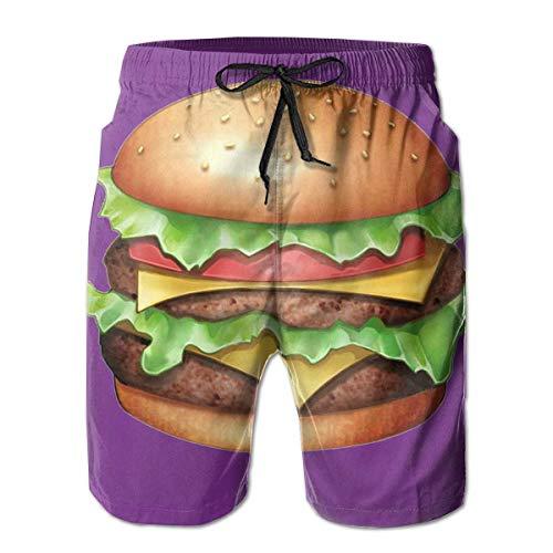LREFON Funny Hamburger 3D Bañadores para Hombre Pantalones Cortos de Playa de Secado rápido Pantalones Cortos con Forro de Malla Pantalones Cortos con Tasche 2XL Traje de baño con cordón