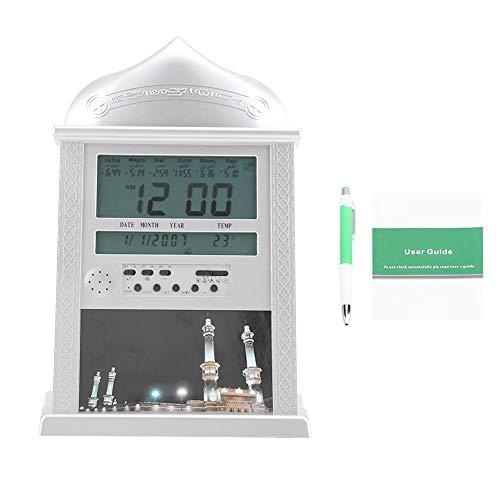 Nannday 【𝐎𝐬𝐭𝐞𝐫𝐟ö𝐫𝐝𝐞𝐫𝐮𝐧𝐠𝐬𝐦𝐨𝐧𝐚𝐭】 Muslimische Betende Uhr, Azan Gebetsalarm Digitale Azan Tischuhr Silber Batterie ausgeschlossen