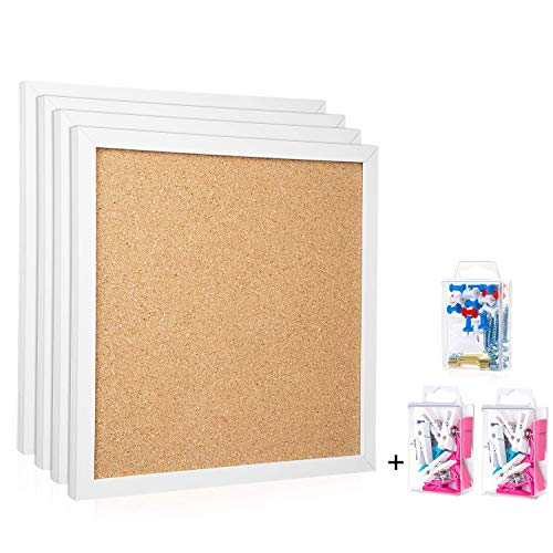 """Cork Board Bulletin Board 12""""X 12"""" Square Wall Tiles,Modern Framed Corkboard for School, Home,Office (Set Including 20 Push Pins,20 Colorful Clip Pins,Hardware and Template)"""