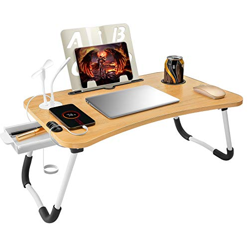 Lap Desk Bed Tray Table, Foldable Bed Desk for Laptop, Stand Bed Table with USB Charging Port/Cord Organizer/Storage Drawer/Reading Stand/Cup Holder, Laptop Desk for Bed Couch, Eating/Working/Writing