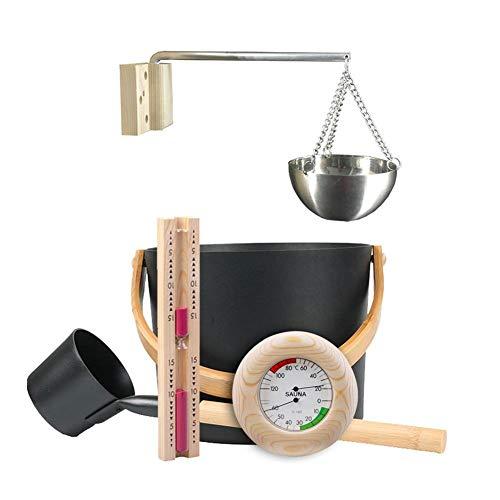 7L Saunaeimer Aluminium Sauna Eimer Saunakübel Set, mit Langem Löffel, Sanduhr-Thermometer, Hygrometer, Aromaöl-Bechern, Hochwertiges Sauna Zubehör, Schwarz
