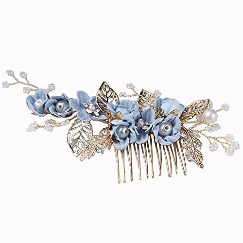 Peinetas para el cabello con flores azules, accesorios para el cabello para...